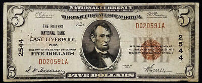 1929 $5.00 National Currency, The Potters National Bank of East Liverpool, Ohio!
