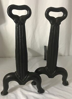 Antique Vtg Fireplace Andirons Fire Dogs Art Deco Victorian Arts & Crafts 1930's