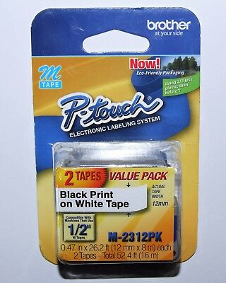 "NEW Sealed 2 Pack Brother P-Touch Black on White Label 1/2"" M Tape M-2312PK"