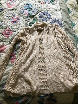 Cat & Jack Ivory Cream Oatmeal Color Sweater Cardigan.  Large 10/12 Very Soft