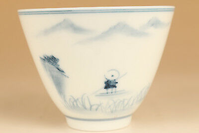 Chinese Jingdezhen Porcelain Hand Painting Landscape Statue Kungfu Tea Cup