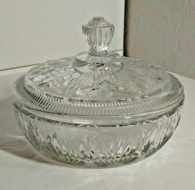 Vintage AVON Clear Glass Round Candy Dish bowl With  Lid Trinket Powder Vanity