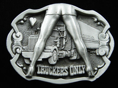 Rg01144 Vintage 1992 **truckers Only** Funny Truck Driver Belt Buckle