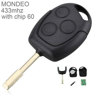 Remote Car Key Fob Chip 3 Buttons Replace 433Mhz for Ford Mondeo Fiesta Focus KA