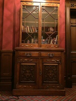 oak antique bookcase - Arts And Crafts Style With Bright Copper Hinges
