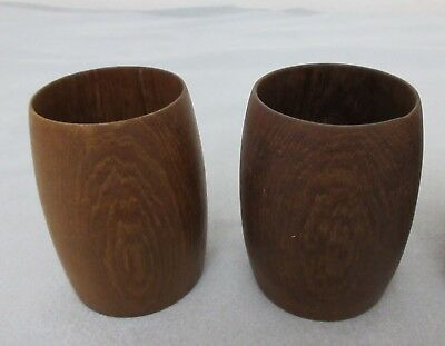 Vtg,set Of 2 Teak Cups,vases,pen Holder,ea Made From Solid Pc Of Wood,14 Avail.