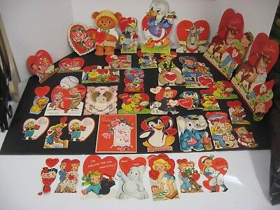 Lot of Vintage 40'S 50'S 60'S Valentines Valentine's Day cards 35+ PC LOT OLD