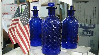 **attic Mint**never Used~8 Oz. Cobalt Blue Lattice/diamond Kc-1 Poison + Stopper