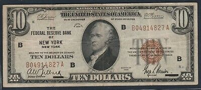 1929 $10 *Bank of NY, New York* Federal Reserve Bank Note