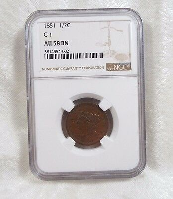 1851 Braided Hair Half Cent CERTIFIED NGC  AU 58 BROWN C-1  1/2c