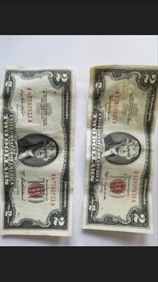 1953 A $2 & 1963 $2 Bills & 1928B Blue Note $1 & Various Currency