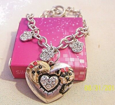 hand painted Yorkie  painting silver tone charm bracelet bling