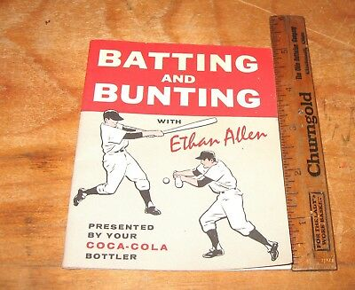 1961 Coca Cola Baseball Batting and Bunting with Ethan Allen 12 Pages 4X5 inches