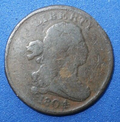 Antique Us  Coin Coins 1804 Half  Cent Copper Half Penny