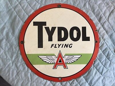 """Flying A single sided 9.75"""" round Porcelain sign!"""