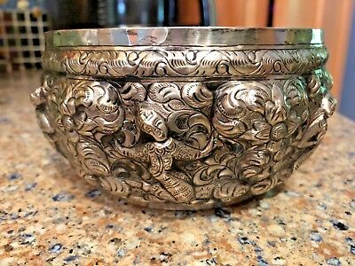 Antique Burmese Silver Offering Bowl Buddhas Repousseed 19Th Century