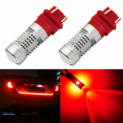 2X 3157 3156 LED Tail Brake Stop Turn Signal Light Bulbs Pure Red Projector Lens