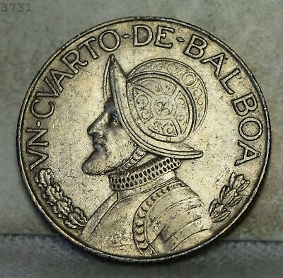 1962 *Silver* Panama 1/4 Balboa  *Free S/H After 1st Item*