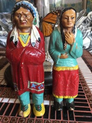 """vintage indian chief and squaw with papoose statues figurines hand painted 6.25"""""""