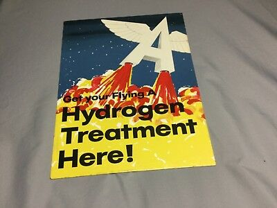 """Flying A Tin sign,""""Get you're Flying A Hydrogen Treatment Here"""" Very rare!"""