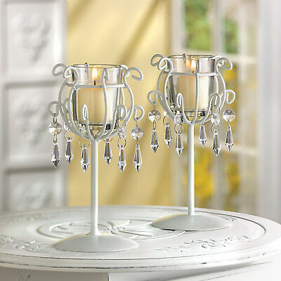 2 CANDLE HOLDERS: Votive Stand with Crystal Drops NEW