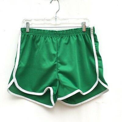 Vintage Kmart Green White Retro Polyester Disco Booty Running Shorts Large
