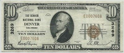 1929 US $10 National Currency Note - National Bank of Denver Colorado