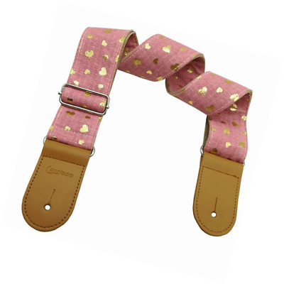 Xinlinke Girls Guitar Strap Pink Cotton Heart Pattern Electric Acoustic Bass Mus