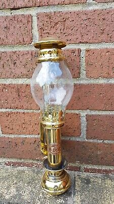 Solid Brass Railway carriage lamp with glass chimney.Antique Reproduction.