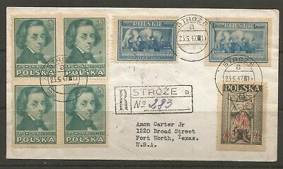 Poland, Registered Cover From Stroze To Fort Worth To Texas U.s.a.