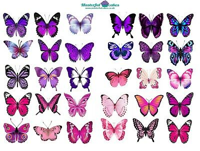 30 x Pink & Purple Butterflies Edible Cup Cake Toppers in Rice Paper or Icing