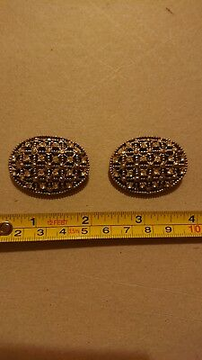 Pair Of Vintage Diamante Brooches - double as choker/necklace clasps?