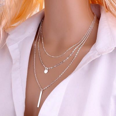 Women Fashion 925 Sterling Silver Plated Multilayer Chain Bar Pendant Necklace