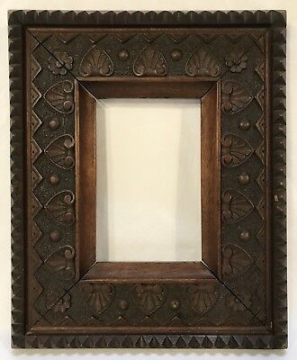 Antique Late 19th C Hand Carved Black Forest Frame 6 3/4 x 4 5/8 Opening