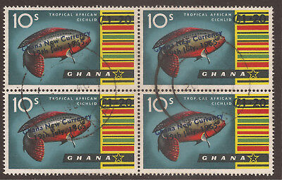 GHANA. 10s FISH. NEW CURRENCY. USED BLOCK x 4