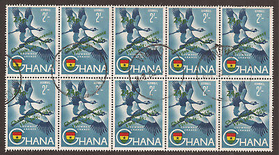 GHANA. 2sh AIR CRANES NEW CURRENCY OVPT. USED BLOCK x 10