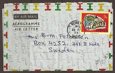 GHANA. 1973. AIR MAIL / AEROGRAMME. 9d STAMP CANCELLED OFINSO
