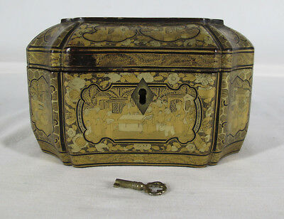 China Trade Chinoiserie Export Market Lacquer Tea Caddy Gold Coffer Box #2 yqz