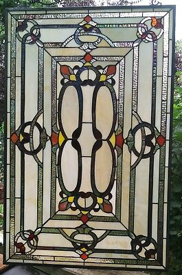 """Vintage Leaded Stained Glass Window Slag Arts and Crafts Modern 32"""" X 21"""""""