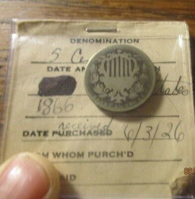 1866 Shield 5 Cents Nickel In Old Flip In Fair Shape For Circulated Condition
