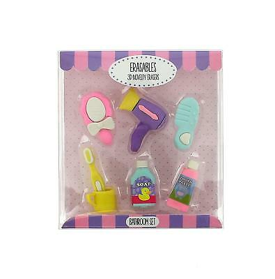 Novelty Erasers Bathroom set 3D Rubbers New in box Collectable School kids Gift