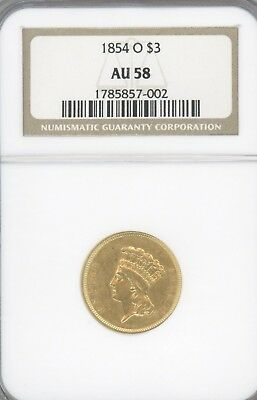 1854-O,  $3 Dollar Gold Piece, Graded Au58 By Ngc, Great Coin