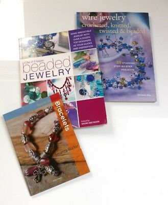 Job Lot Of 3 Jewellery Making Craft Books Including Wire, Beading & Bracelets