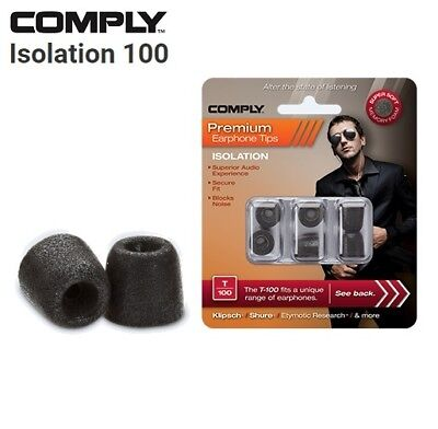 Comply Foam T-100 Isolation 3 Pairs In-Ear Earphone Tips Medium Noir WH