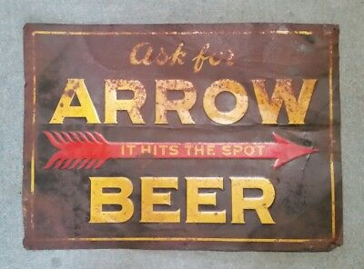 Arrow Beer,Globe Brewery Co.Baltimore,MD.Tin Litho Sign,1930's