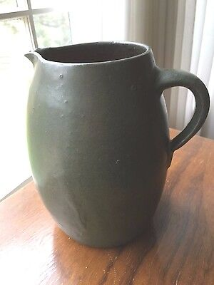Arts and crafts period Green pottery pitcher