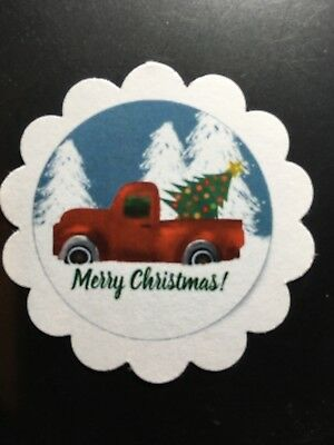 **60**  Little Red Truck Merry Christmas Red Car Gift Tags Favor Tags