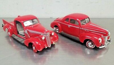 LOT of 2 DANBURY MINT 1/24 1937 Studebaker Pickup 1940 Ford Deluxe Coupe Diecast