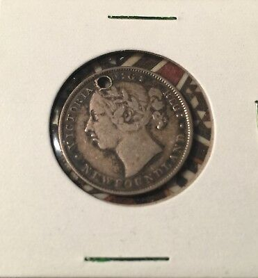 1890 Newfoundland Canada Sterling Silver 20 Cent Coin; Queen Victoria; Holed