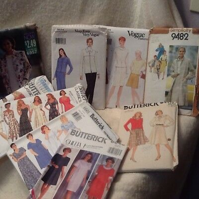 Womens Sewing Patterns Lot Of 9 Size 18-22 Vogue Butterick Simplicity Uncut